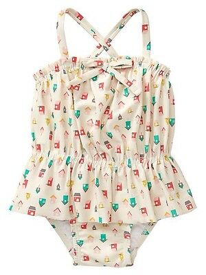 GAP Baby / Toddler Girl 12-18 Months Birdhouse Ruffle One-Piece Bathing Suit