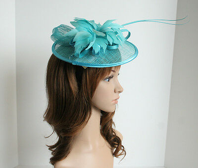 New Church Derby Bridal Wedding Sinamay Feather Fascinator Cocktail Turquise 307