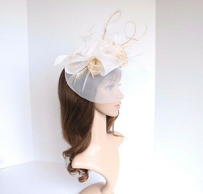 High Quality Kentucky Derby Wedding Polyester Feather Fascinator Ivory/Champagne