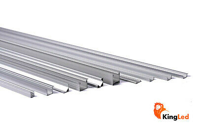 KingLed® Profilo Alluminio 1 Metro +Cover Plexiglass Strip LED Estruso Profilato