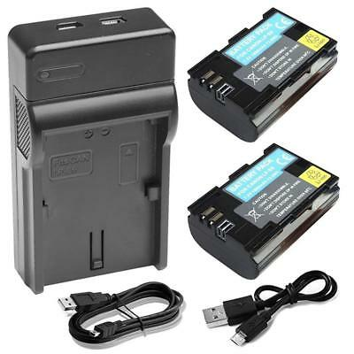 2X LP-E6 Battery+1x Charger for Canon EOS 5D 6D 60D 60Da Mark II III EOS 70D 7D