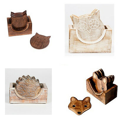 Set Of 6 Vintage Wooden Owl Fox Hedgehog Coasters In Box Placemats