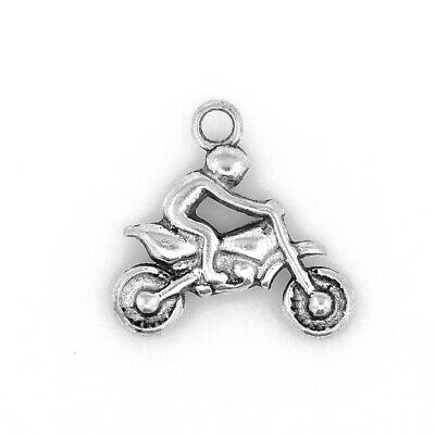 Packet of 10 x Antique Silver Tibetan 22mm Charms Pendants (Motorbike) ZX09520