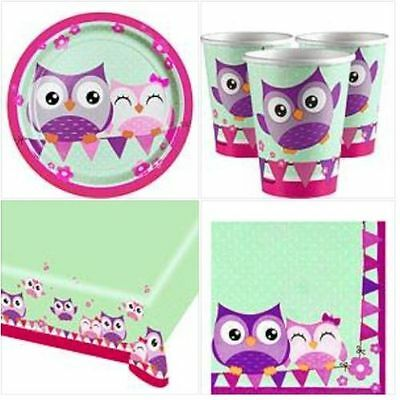 Owl Table Party 8 Set Tablecloth Plates Cups Napkins Bright Pink Birthday Table