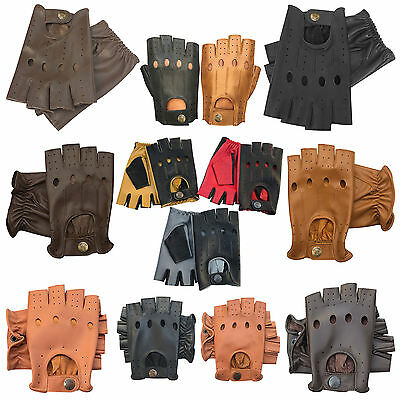 New retro style quality soft leather fingerless driving gloves unlined fashion