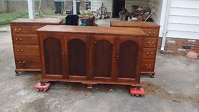 3 Pcs Bedrom Set, Solid Walnut cases, 2 chipendale chest and a matching dresser