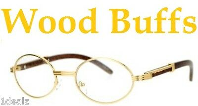New Oval Wood Buffs clear glasses Oval UV400 Lenses Gold frame RICH buy 1 get 1