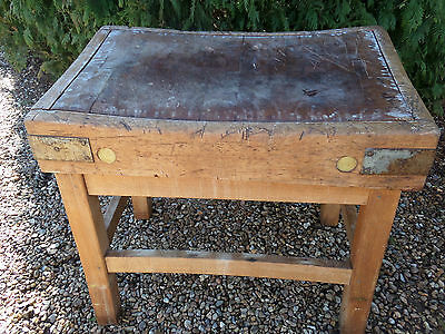 antique 1910 butchers block on stand [reduced]