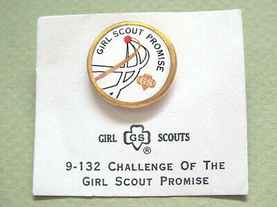 Challenge-GIRL SCOUT PROMISE 1963 NOC Cadette & Sr. OFFICIAL PIN Combine Ship