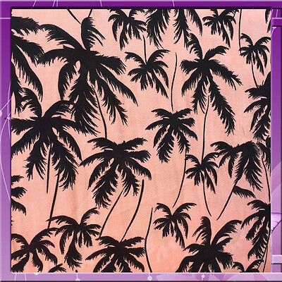 "100% rayon challis Palm trees on Tuscan pink background 60""w"