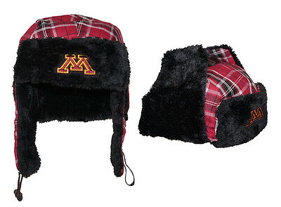 NWT Minnesota Golden Gophers NCAA Top of the World Mens Plaid Trapper Hat