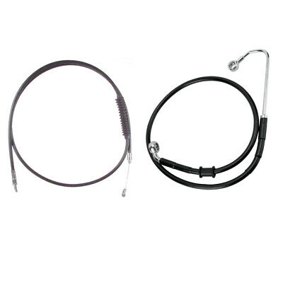 """Black Cable & Brake Line Bsc Kit 14"""" Apes 2016-2017 Harley Softail w/ABS"""