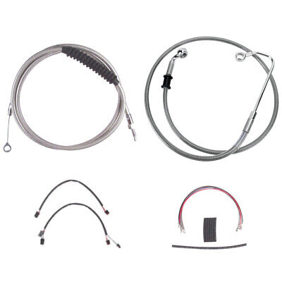 "Stainless Cable & Brake Line Cmpt Kit 14"" Apes 2016-2017 Harley Softail w/ABS"