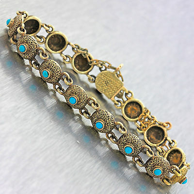 1860s Antique Victorian 14k Yellow Gold Turquoise Round Etched Link Bracelet