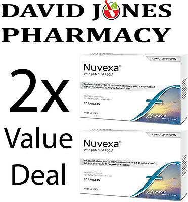 GENUINE 2x Flordis Nuvexa FBCx 90 tablets | Alfadex Weight Loss Reduce Cholester