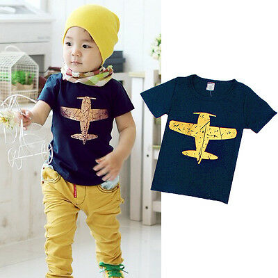 Toddler Baby Boy Short Sleeve Plane Print T-shirt Tee Kids Casual Blouse Tops