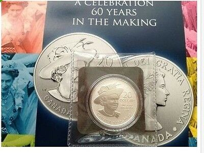 2012 $20 Dollars Queen's Diamond Jubilee Commemorative .9999 Fine Silver coin