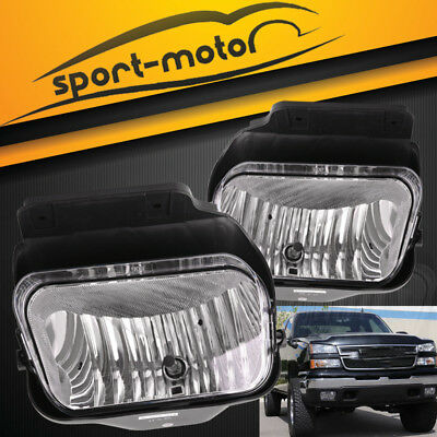 for 2003-2006 Chevy Silverado Avalanche Clear Fog Light Fronts Bumper Lamps PAIR