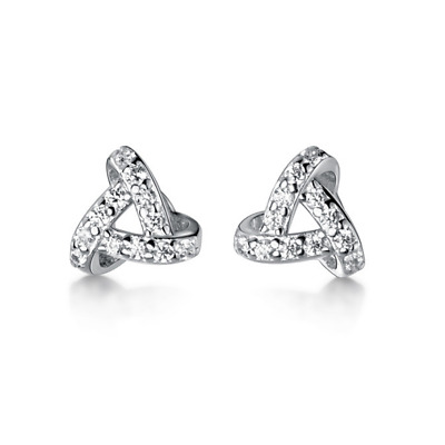 Solid 925 Sterling Silver Cubic Zirconia Micro Pave Triple Knot Stud Earrings