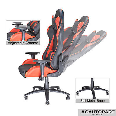 Racing Gaming Chair Race Car Seat Office Computer Desk Highback PU Leather #atac