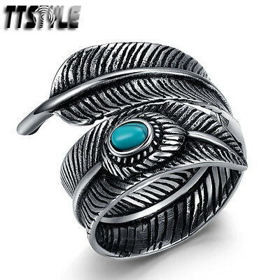 Quality TTstyle 316L S. Steel Feather Cuff Band Ring Size 6-12