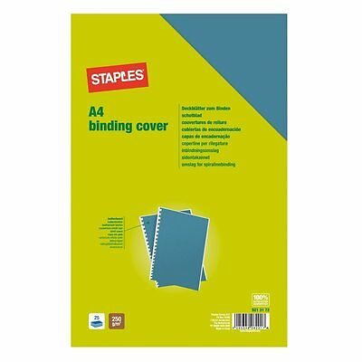 Staples Leathergrain A4 Binding Cover Pack Of 100 Blue Brand New Sealed