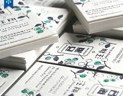 200 pcs of Personalized Letterpress Business Card (450g cotton paper stock)