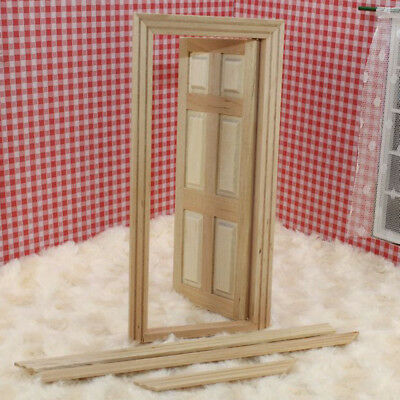 1/12 Dolls House Miniature Unpainted Wooden Interior 6-Panel Door With Frame