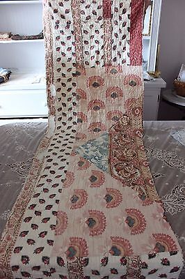 Antique French 18thC Block Printed Partial Quilt~Stunning Fabrics