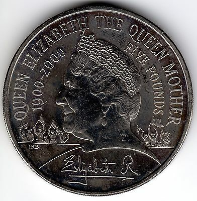 2000 Crown Elizabeth Queen Mother 100Th Birthday £5 5 Five Pounds 1900 100 Th
