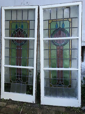 Stunning Stained Glass Lead Light Windows x 2