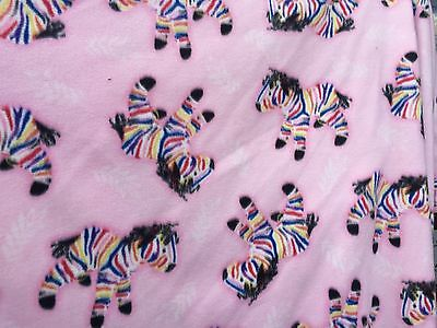 """100% polyester doule brushed fleece pink background w rainbow zebras 60""""W"""