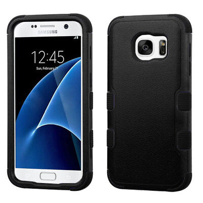 For Samsung GALAXY S7 Thin Black Hybrid Slim Rubber Hard Protective Case Cover