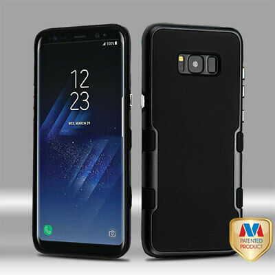 For Samsung GALAXY S8 Thin Black Hybrid Slim Rubber Hard Protective Case Cover