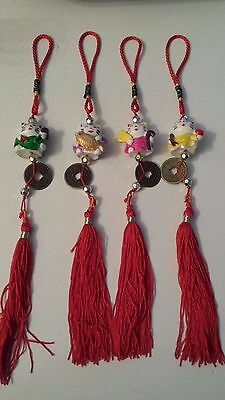 Chinese New Year Feng Shui Lucky Hello Kitty Cat Hanging Tassel Amulet Charm