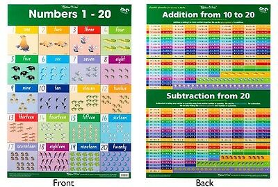 Educational Poster Numbers 1 to 20 / Addition Double-sided Wall Chart