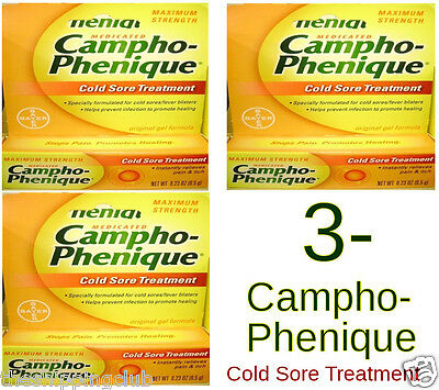 3- CAMPHO-PHENIQUE Cold Sore Treatment .23oz Max Strength Pain Itch Relief BAYER