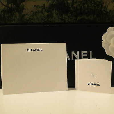 New Authentic Chanel White Blank Note Cards Set Of 10 Large Flat Or Small Open
