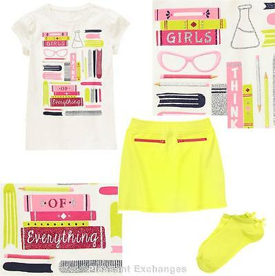 NWT Gymboree 6 or 7 BRIGHT IDEAS 3pc Girls Think of Everything Top Skirt & Socks