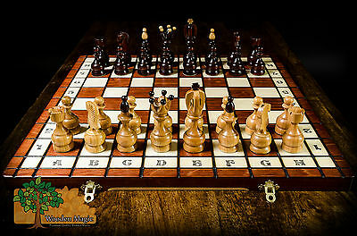 ROYAL - Large 48cm / 18.9in Handcrafted Wooden Chess Set Cherry Tree