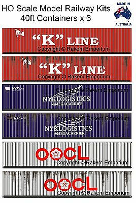HO Scale Containers Mixed 6 x 40ft - Model Railway Building Kit HO40FM2