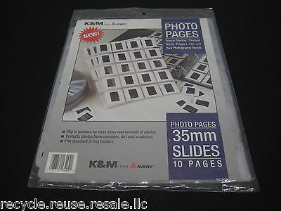 NEW K&M Avery Print File Photo Page For Vintage Slides 35mm Holds 20 - 10 Pages
