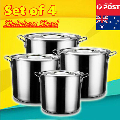4Pcs Cookware Casserole Stockpot Stock Pots Cooking Kitchen Set Stainless Steel