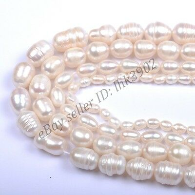 1 Strand Natural Freshwater White Pearl Oval Rice Beads 4MM 6MM 8MM 10MM 12MM