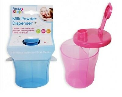 Portable Baby Food Milk Powder Dispenser Pot 3 Section Tub Blue Or Pink BPA FREE