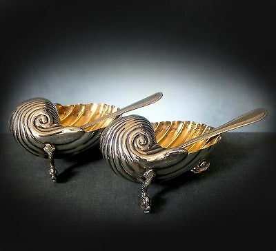 LOVELY pair of STERLING SILVER SHELL SALTS with DOLPHIN FEET - 1891