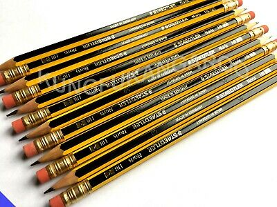 12 BOXED STAEDTLER NORIS PENCILS with ERASER RUBBER TIP HB DRAWING SCHOOL DESIGN
