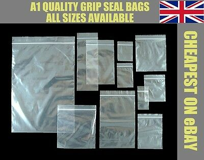 Grip Seal Resealable Self Seal Poly Plastic Clear Bags ** All Sizes Cheapest **
