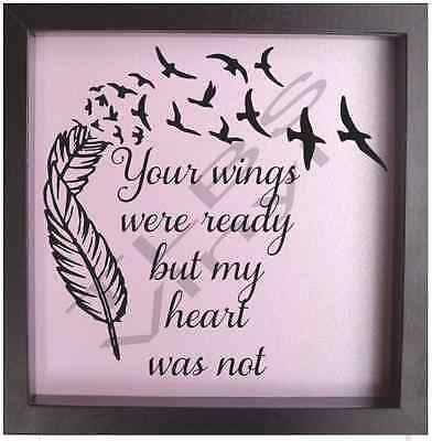 Vinyl Quote Phrase Your Wings Were Ready Feather Sticker Decal Fit