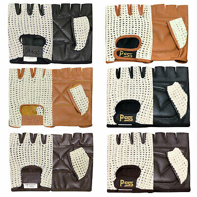 Fingerless Crochet leather gloves gym training bus driving cycling wheelchair